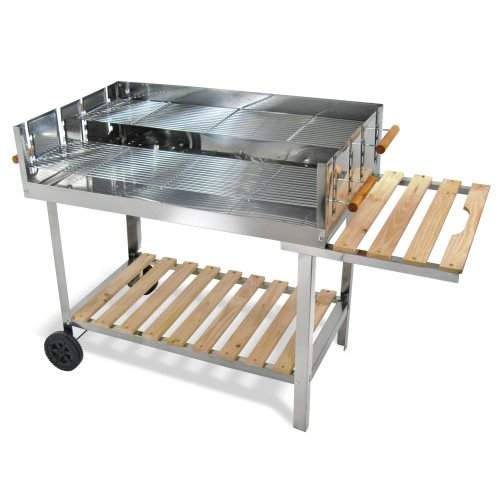 Edelstahl Barbecue Holzkohle Grill Grillwagen BBQ 136x60x93 XXL